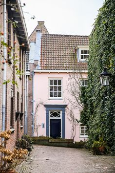 Pretty pink house in Utrecht, Netherlands