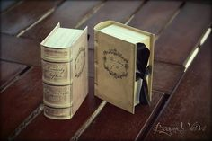 Old / antique books favor boxes - Vintage wedding stationery - Beyond Verve