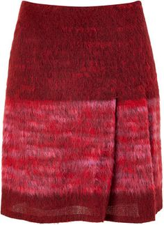 ShopStyle: Anna Sui Red and Rose Wool-Blend Skirt