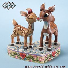 Rudolph the Red-Nosed Reindeer - Clarice Kissing Rudolph - Jim Shore - World-Wide-Art.com