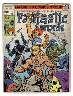 Fantastic Swords  (Pure Awesome 80's Retro Pop Art Parody Piece cartoon He-Man, Lion-o, thundercats, tmnt, leonardo, snake eyes, gi joe)