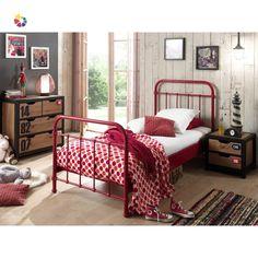 Descriptif : Lit enfant simple en métal rouge, adapté pour matelas 90 x 200 cm, av Bed City, Lit Simple, Stylish Beds, Nest Design, Childrens Beds, Under Bed, Metal Beds, Bedroom Themes, Bed Frame