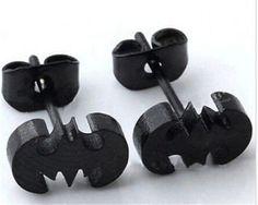 New Batman Black Stainless Steel Unisex Earring Ear Stud DC Comics