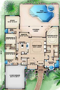 Mediterranean Style House Plan - 3 Beds 3 Baths 2756 Sq/Ft Plan #27-441 Floor Plan - Main Floor Plan - Houseplans.com