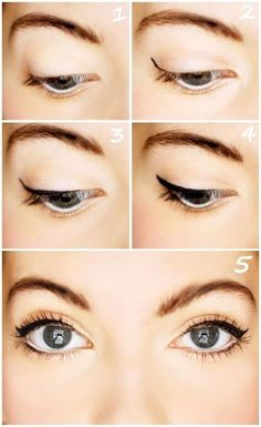Doe Eye: -sandy nude eyeshadow in crease & nude pink on lid -wing, liquid eyeliner -thicken eyeliner base across lid -perfect upper eyeliner line to meet wing (follow contour of eye) -white pencil liner on bottom - black liquid liner on 1/3 of bottom lashes - add mascara, and or false lashes