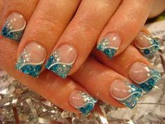 Nude base and blue glitter Nail Art.just not the squared off nails! Fancy Nails, Trendy Nails, Cute Nails, Hair And Nails, My Nails, Turquoise Nail Art, Blue Glitter Nails, Blue Nail, Blue Sparkles