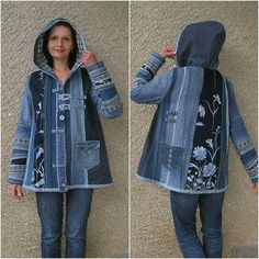 Hooded jacket, Upcycled Clothes by EcoClo, Denim Assortment, measurement M - Refashion Sewing Clothes, Diy Clothes, Clothes Refashion, Shirt Refashion, Diy Kleidung, Lined Denim Jacket, Mode Jeans, Denim Ideas, Denim Crafts