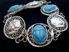 Art Deco Egyptian Scarab Bracelet Green Blue Silver Open Work Filigree Antique