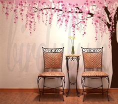 Tree Wall Decals Cherry Blossom Leafy Tree Decal by birdyfish