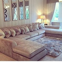 Ahh luv this couch!! I'd throw some other colored pillows thru out it tho.