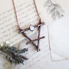 Earth symbol alchemy Earth necklace Witch jewelry by MarrieKo