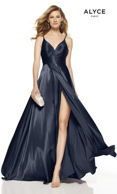 Alyce Paris - 60624 Sleeveless V Neck Flowy Satin A-Line Gown Alyce Paris - 60624 Sleeveless V Neck Flowy Satin A-Line Gown Strapless Prom Dresses, Chiffon Dresses, Fall Dresses, Long Dresses, Grad Dresses, Prom Boutiques, Gown Gallery, Semi Formal Dresses, Formal Wear
