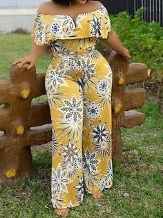 Ericdress African Fashion Off Shoulder Print Floral Straight High Waist Jumpsuit online shopping mall, buying fashion dresses & rapid delivery. Start your amazing deals with big discounts! African Attire, African Dress, Fashion Mode, Fashion Outfits, Asos Jumpsuit, African Print Jumpsuit, Off Shoulder Jumpsuit, Modelos Plus Size, Latest African Fashion Dresses