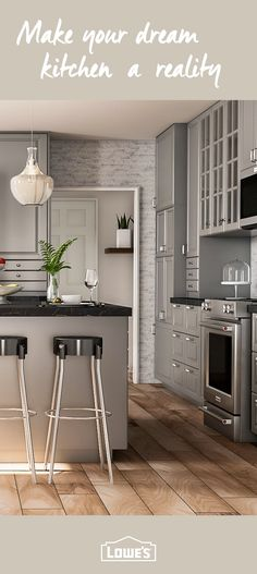 My DIY kitchen. Two tier peninsula, Viking range, stools from ... Lowe S Kitchen Ideas Product Html on