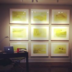 """Great installation in Mallory's Page's """"Married in a Fever"""" solo show at Wally Workman Gallery in Austin, Texas. """"Moments vs Sequences 1-9"""", acrylic on paper, 22x30 inches each. Chartreuse, Chartreuse, Chartreuse!"""