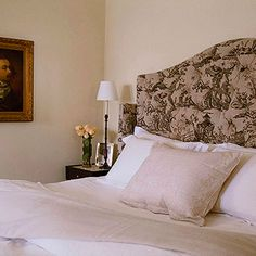Decorating Ideas: Toile Fabric | Traditional Home  toile headboard