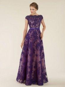 A-Line Bateau Cap Sleeves Lace Long Purple Mother of The Bride Dresses 99803001