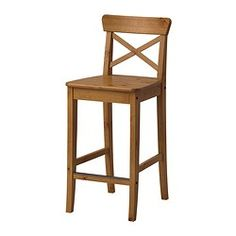 INGOLF Bar stool with backrest, antique stain - IKEA