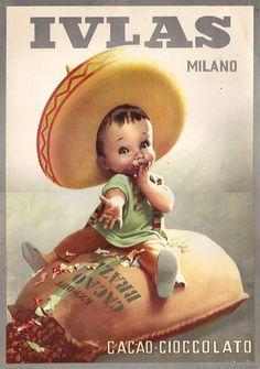 By Gino Boccasile (1901-1952), Ivlas Cacao Milano. #ItalianPoster