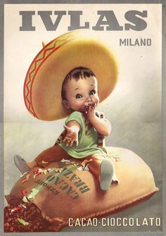 By Gino Boccasile (1901-1952), Ivlas Cacao Milano. #ItalianPoster