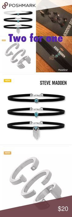 Two Steve Madden jewelry sets for one price NEW Steve Madden pearl ring set of three and Steve Madden leather choker set of three.  New. Two for the price of one. Jewelry Rings