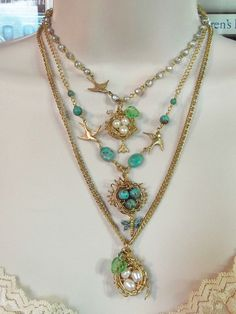 Birds Nest Hand Wrapped with Either Cultured Pearls or Turquoise & Czech Glass Leaves