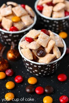 Pumpkin Puppy Chow Sweet Treats - Your Cup of Cake Puppy Chow Recipes, Chex Mix Recipes, Snack Recipes, Dessert Recipes, Pumpkin Recipes, Fall Recipes, Holiday Recipes, Holiday Foods, Holiday Time