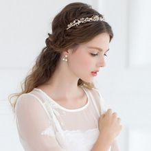 Color del oro del Rhinestone Tiara pelo de la boda accesorios novia joyería granos cristalinos de la corona Hairbands(China (Mainland))