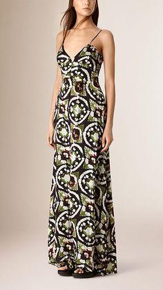 Preto roxo Vestido longo de seda com cintura império e estampa tie-dye - Imagem 1