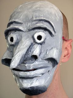 """Papier mache mask diy. """"I used acrylic paint and added shadows and highlights to bring out the features a lot more. I think..."""" Phil Gyford on Flickr"""