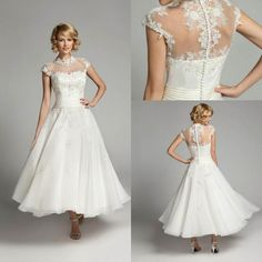 Elegant-Ivory-Lace-Tea-length-Wedding-Dresses-Sheer-Backless-Button-Short-Sleeves-Bridal-Gowns-Vestidos- Dresscab