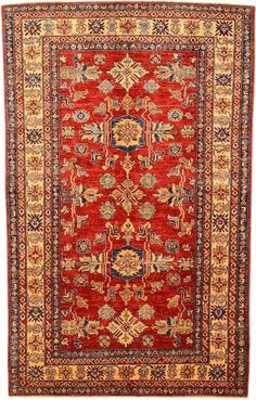 Kazak Rug: Origin: *Qazak is a city in Northwest Azerbaijan but Kazak rugs are traditionally woven in Afghanistan and Armenia. Size: Varies Colors: 3-7 colors and a common palette of deep indigo, red, and ivory Design: Geometric motifs of animals, flowers, and tribal medallions
