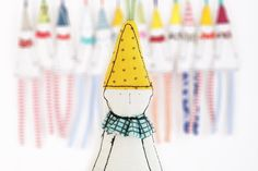 Christmas ornaments - Holiday dwarf or clown in yellow dotted pointy hat ,Aqua blue plaid collar & striped pants .hanging handmade doll