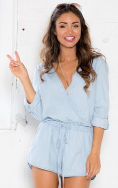 Showpo Perk Up Playsuit in Chambray - 6 (XS) Rompers & Jumpsuits