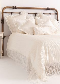 FRENCH COUNTRY BEDDING Ivory Embroidered Linen