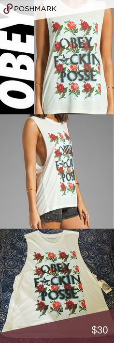 NWT Obey Posse Muscle Tank Size Small New with tags! Obey Floral Print Muscle Tank. Size Small. 50% polyester, 50% rayon. Deep cut arm holes. Cute with a lacy black bralette. Sorry - no trades. Bundle and save!  From a smoke-free home. Obey Tops Muscle Tees