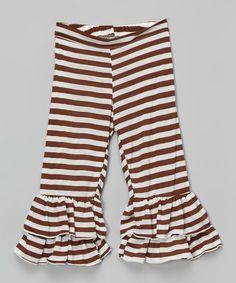 Loving this Brown & Green Stripe Ruffle Pants - Toddler & Girls on #zulily! #zulilyfinds