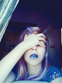 Galaxy lips Purple hair <3