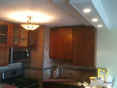recessed lights & molding on soffit