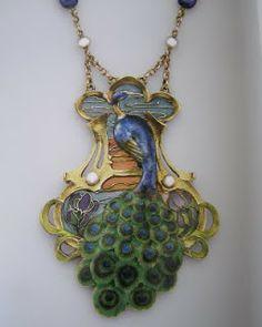 Purple Fan: Art Nouveau Jewelry Peacock