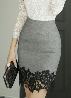 Grey and black lace skirt.