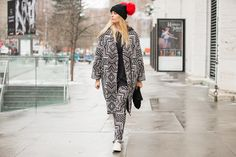 Matching trousers and coat in tribal-inspired pattern