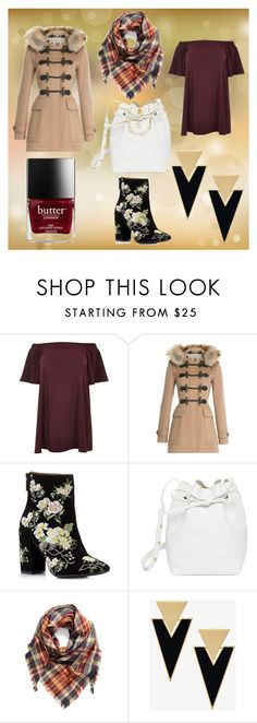 """""""Camel"""" by zeviking ❤ liked on Polyvore featuring River Island, Burberry, Miss Selfridge, Mansur Gavriel, BP. and Yves Saint Laurent"""
