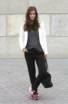 New Balance Outfit – Spring Summer 2014.  Grey tee, black trousers, white blazer.