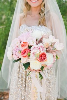 In love with this blush bouquet: http://www.stylemepretty.com/little-black-book-blog/2015/04/29/gold-glitter-blush-calabasas-wedding/ | Photography: Onelove - http://www.onelove-photo.com/