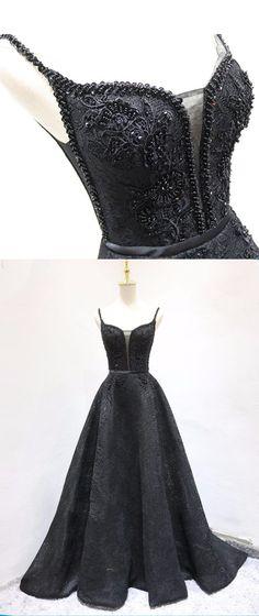 Black lace V neck spaghetti straps long A-line beaded evening dress, prom dress #prom #dress #promdress #promdresses