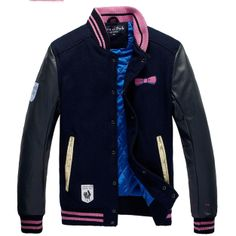 Cheap 2013 New Hit Color Embroidery Casual Wear Black Leather Sleeves Woolen Varsity Jacket,Jackets Sale Outlet Sale with free shipping! ($146.00) - Svpply