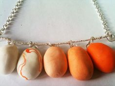 Silver and Orange clay Ombre necklace  Free Shipping by AliandMilo, $30.00