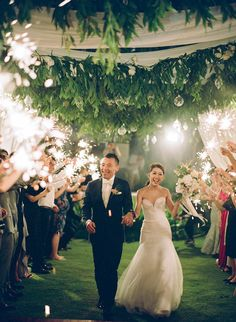 Derek and Natasha's Elegant Garden Wedding in Bali Bali Wedding, Garden Wedding, Our Wedding, Wedding Ideas, Wedding Exits, Wedding Entrance, Sparkler Wedding, Wedding Cinematography, Wedding Lighting