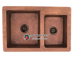 """The 911 offset double bowl apron sink is made from 99% pure-mined copper.The hammered finish looks great and provides a mask for small scratches that may appear over time. The overall dimensions of the 911 are 33 1/2"""" x 22 1/8"""" x 9""""(L) 6 1/4""""(R) and a custom apron style cabinet is required. The sink contains a centered 3 1/2"""" drain opening and copper strainers and flanges are available. The hand-crafted copper details are sure to add warmth and richness to any decor."""
